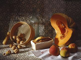 Pumpkin and walnut cake