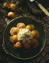 Apricots à la banville on macaroons