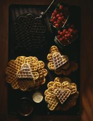 Heart-shaped waffles and waffle-iron