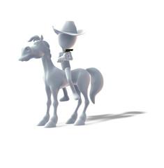 3D, Cowgirl, Pferd