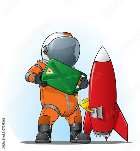 astronaut filling the rocket - 27298362