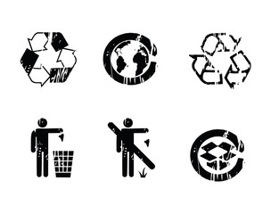 recycle grunge icons