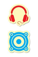 Headphones and Speaker Icons