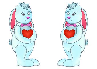 Rabbits with hearts