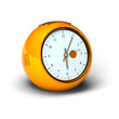 orange vintage alarm clock over a white background