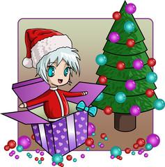 Santa and gift tree
