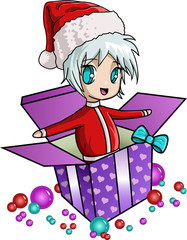 Santa in gift box