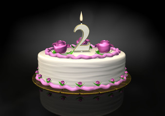 Birthday cake 2 year candle