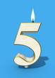 five birthday candle