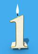 One year birthday cake candle