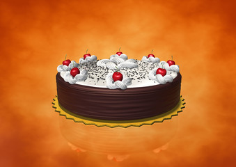 Birthday cake whit cream and cherry