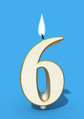 Sixth birthday candle on