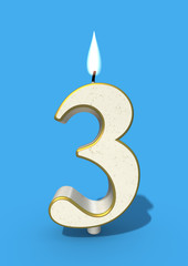 Three as birthday candle