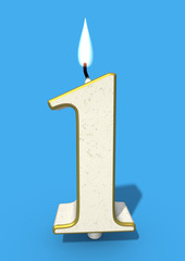 One year birthday cake candle
