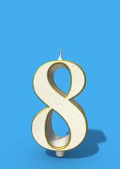 eighth birthday eight candleblown