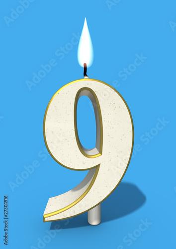 ninth birthday nine candle