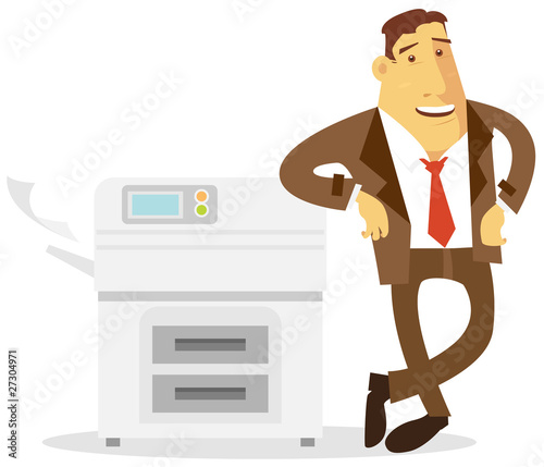 businessman illustration standing next to copier machine