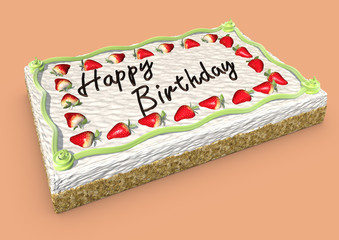 strawberry cake with happy birthday