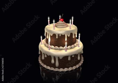 Birthday cake an cherry