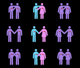 Modern Couples Pictograms poster
