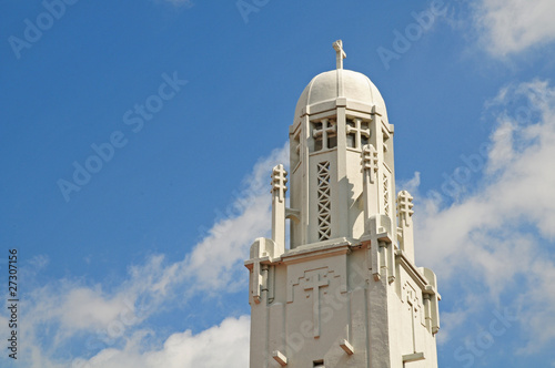 Closeup Of Methodist Churd Against Blue Sky