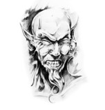 Sketch of tatto art, devil - 27309326