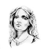 Sketch of tattoo art, indian head - 27309346