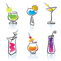Set of the different cocktails