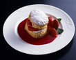 Flaky pastry and strawberry dessert with strawberry puree