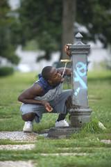Thirsty athlete