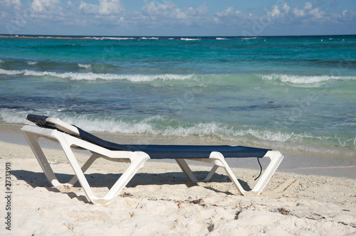 Beach chair by the ocean