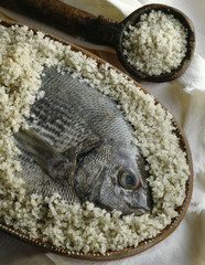 Sea bream in salt crust