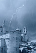 castle with peaks under the rain  in Urbino