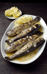 Trout Meunières with thinly sliced almonds