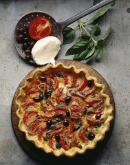 Tomato,mozarella and olive tart