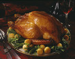 Roast turkey with green beans and dauphine patatoes