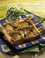 Upside-down fennel tart with smoked trout