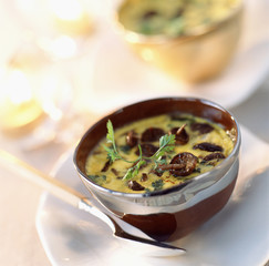 saffron-flavored creams with St George's mushrooms