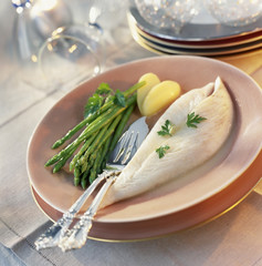 John Dory fillets with green asparagus
