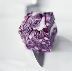 cube of purple cabbage