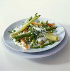 Plate of spring vegetables
