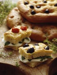 Mozzarella and basil sandwiches
