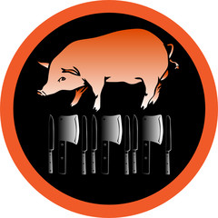 pig vector - butcher or slaughterhouse symbol