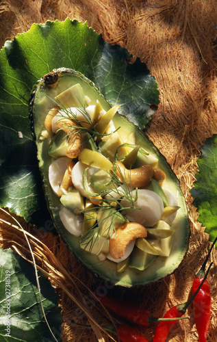 Avocado with palm hearts and cashew nuts