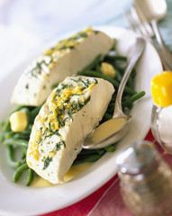 Halibut with green beans