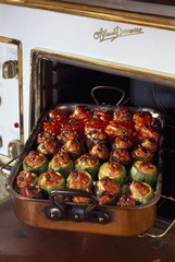 stuffed tomatoes, courgettes and aubergine