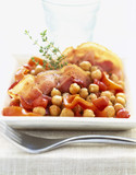 Chickpeas cooked with diced bacon and peppers