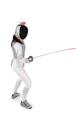 Female fencer isolated on white