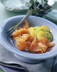 Smoked salmon with potatoes