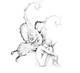 Sketch of tattoo art, fairy - 27319986